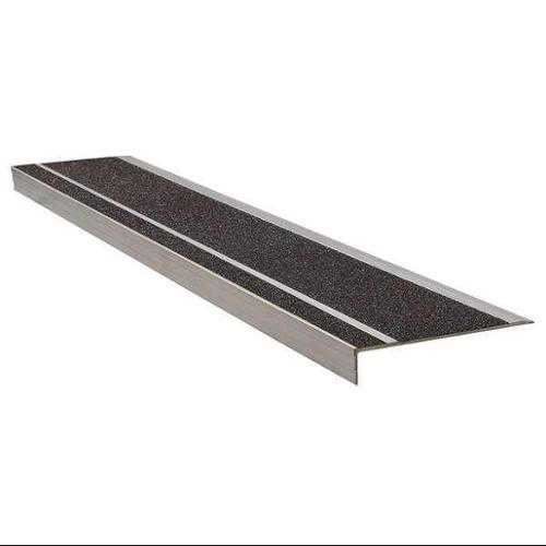 WOOSTER PRODUCTS 365BLA4 Stair Tread, Black, Extruded Alum, 4 ft. W